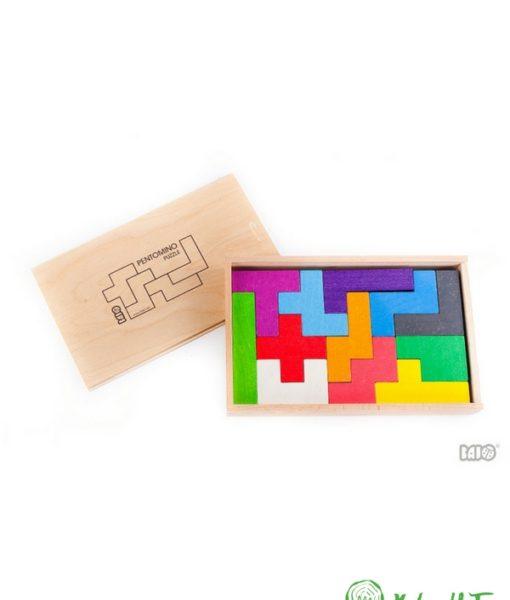 Pentomino. Mattoncini colorati. Puzzle in legno. Gioco in legno. Gioco creativo. Gioco educativo. Gioco di abilità. Per realizzare giochi di bilanciamento. Gioco di abilità. Favorisce lo sviluppo della capacità di logica e la consapevolezza spaziale.