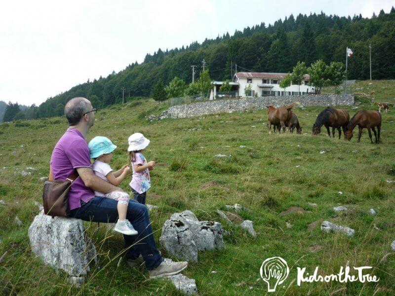 stefano: il fondatore di kidsonthetree e le sue due figlie in montagna insieme ai cavalli